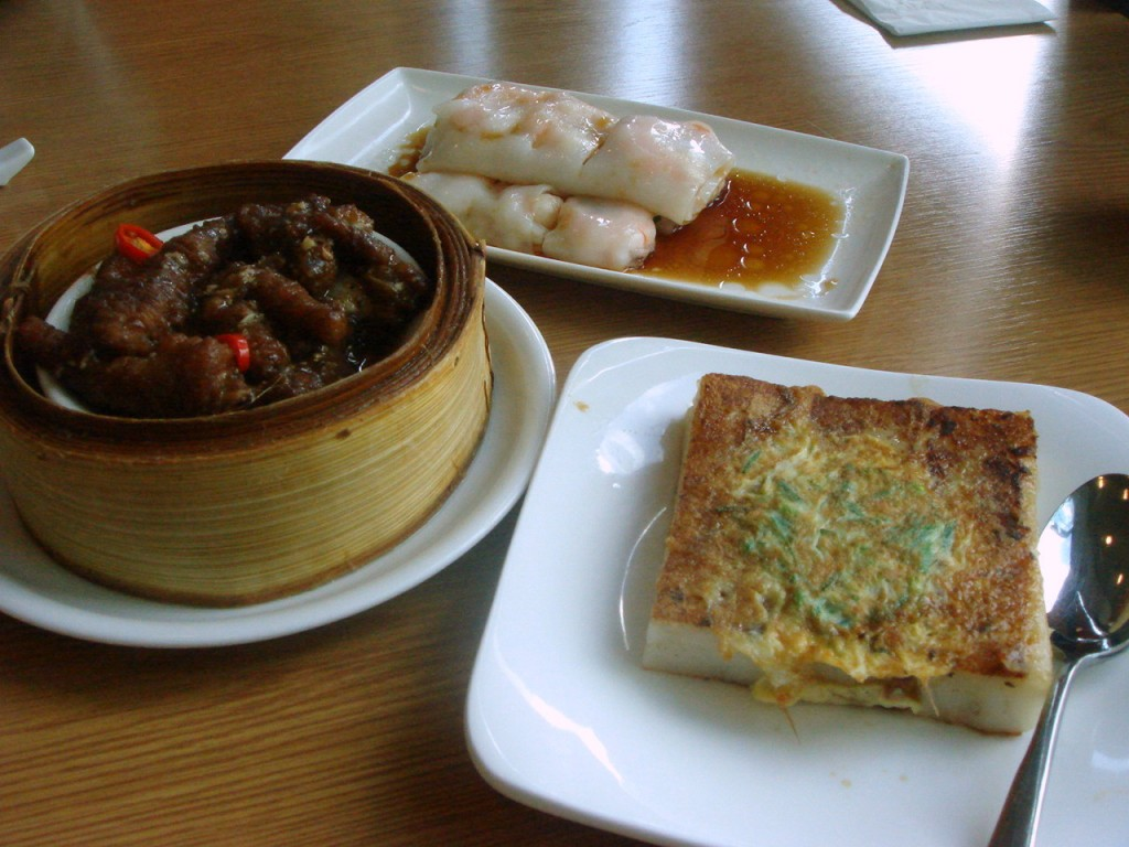 L to R: Chicken feet, prawn cheong fun & turnip cake