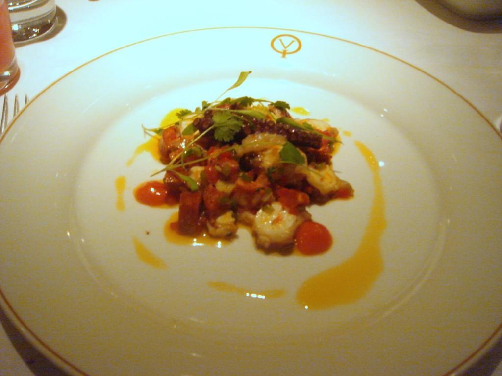 Octopus, chorizo and artichoke salad