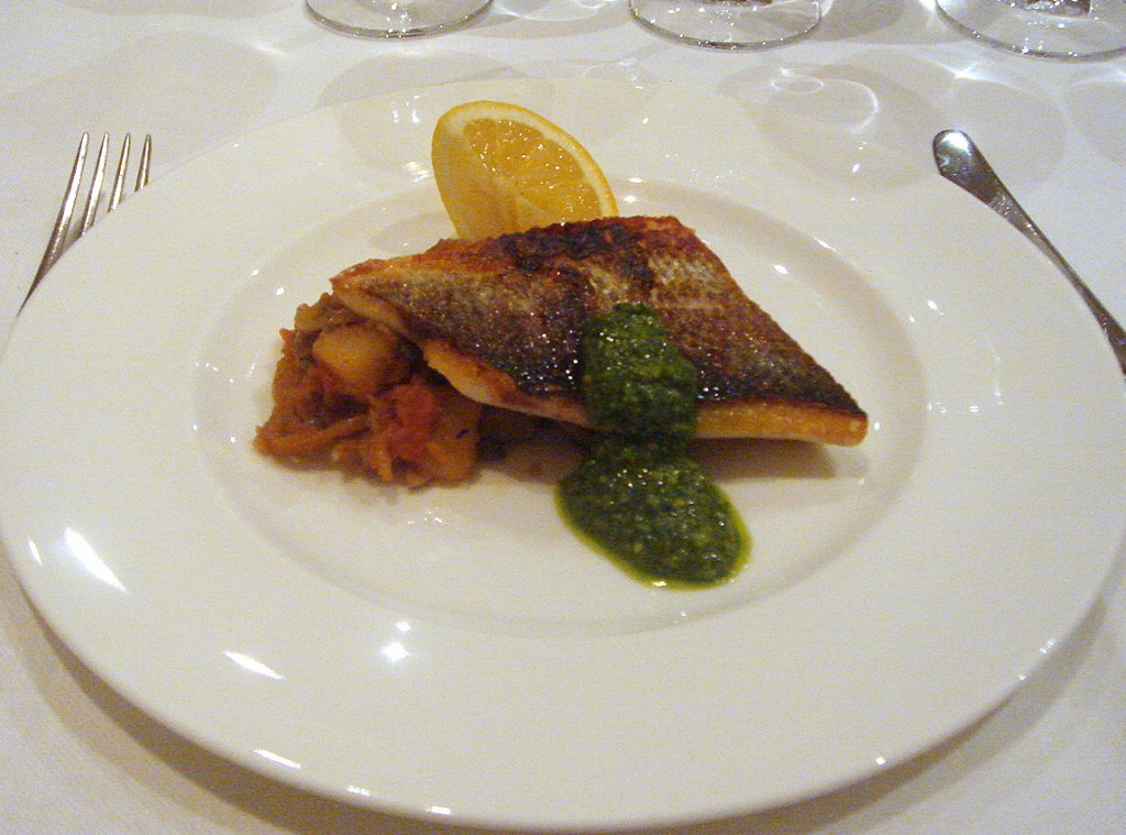 Seabass, cianfotta with pesto & super hot rocket