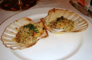 Scallops in the half shell