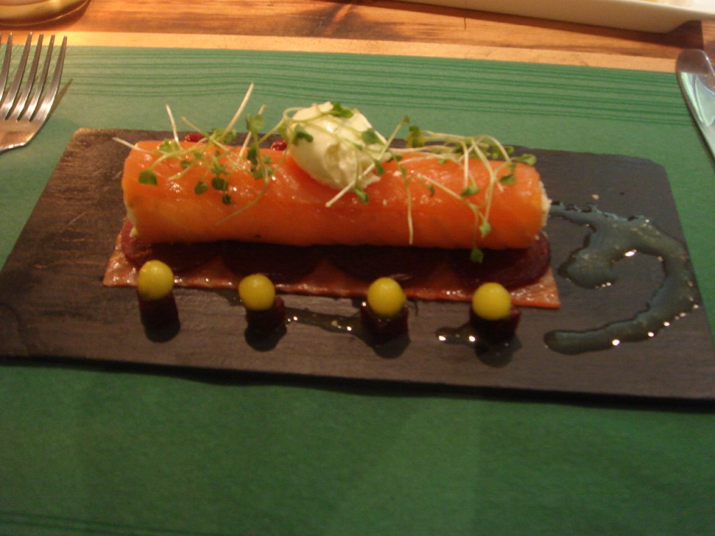 Smoked salmon & goat's cheese roulade