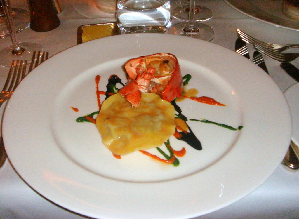Ravioli of suckling pig with roasted lobster