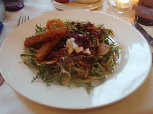 Lyonnaise salad & Beaujolais dressing