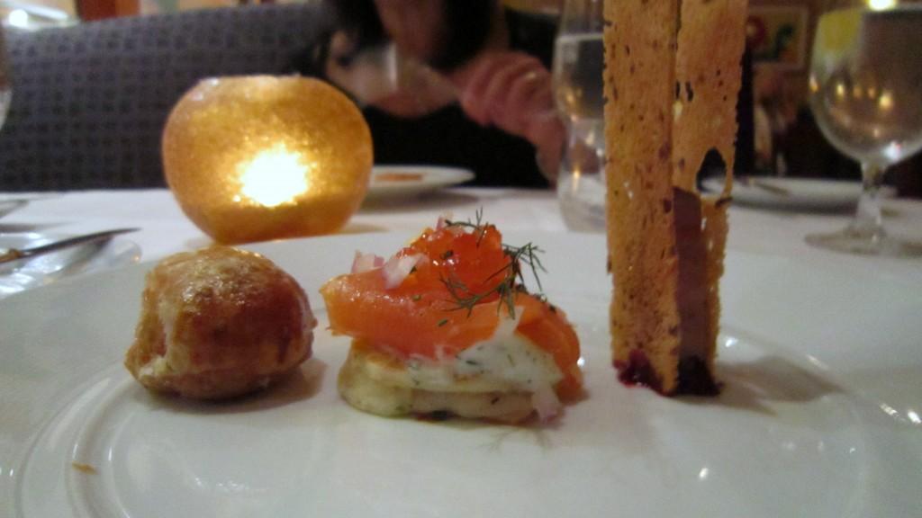 Bacon, salmon, foie gras