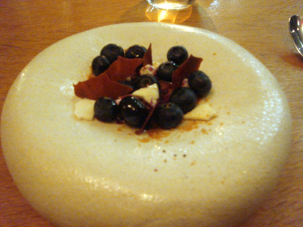 Blueberries, goat's curd, lemon thyme & caramel