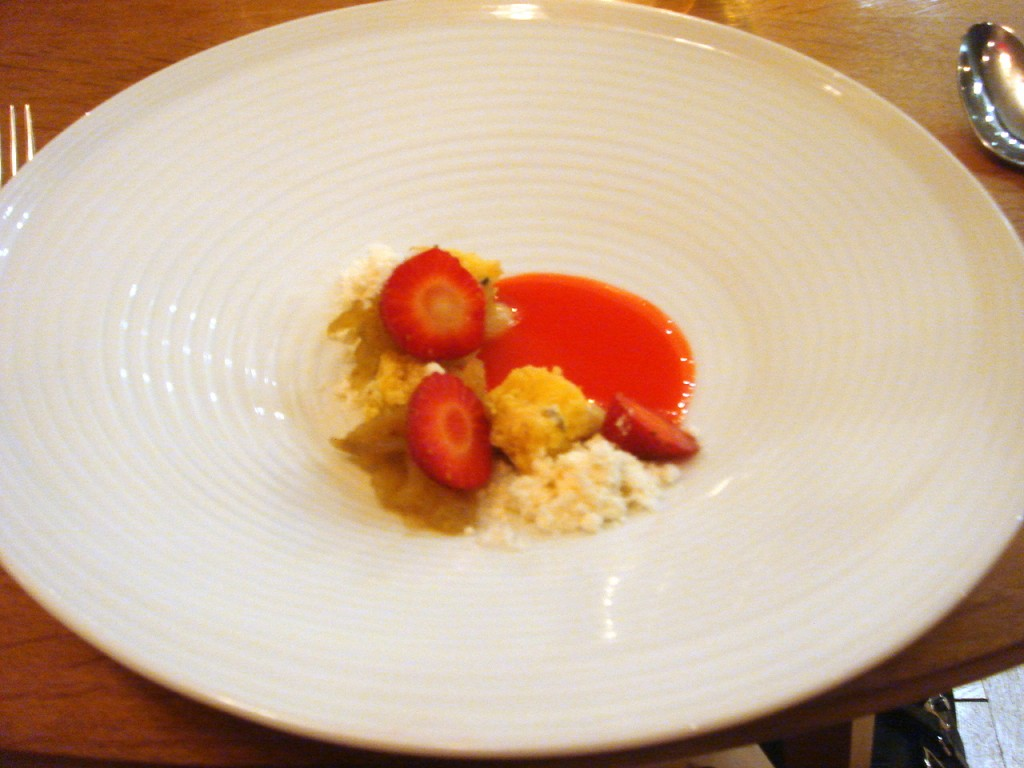 Crumbled polenta, lemon paste, strawberries & citrus powder