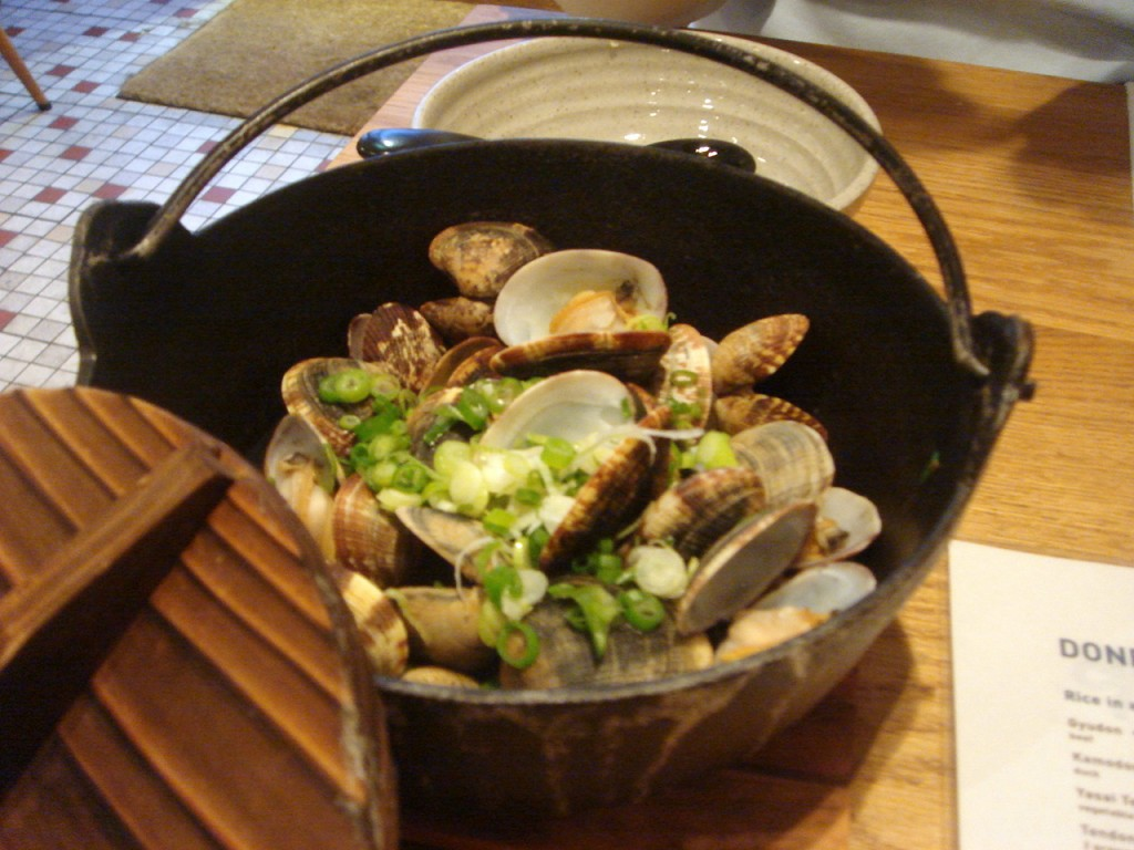 Baby clams steamed in sake