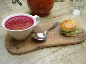 Chilled beetroot & celery soup