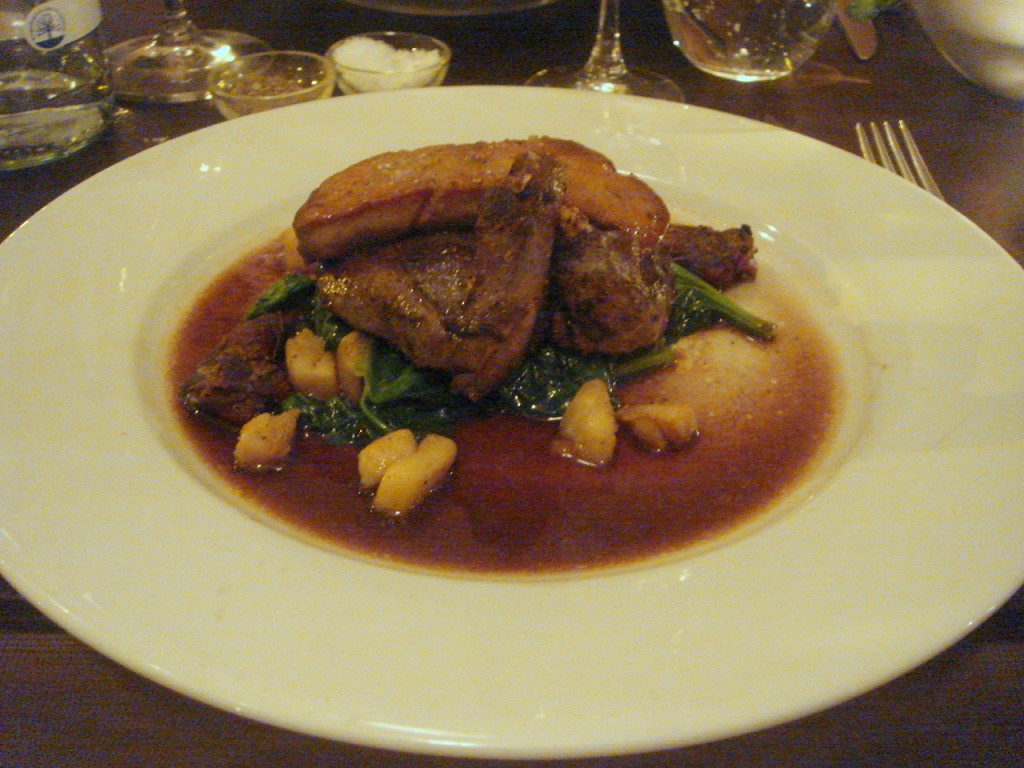 Roasted wood pigeon with pan-fried foie gras