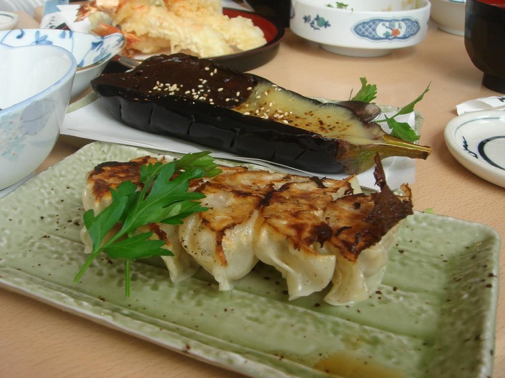 Gyoza & grilled aubergine