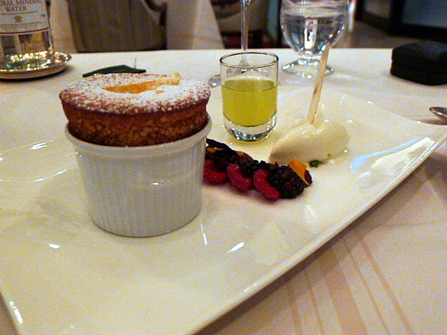 Ricotta soufflé with passion fruit & chocolate