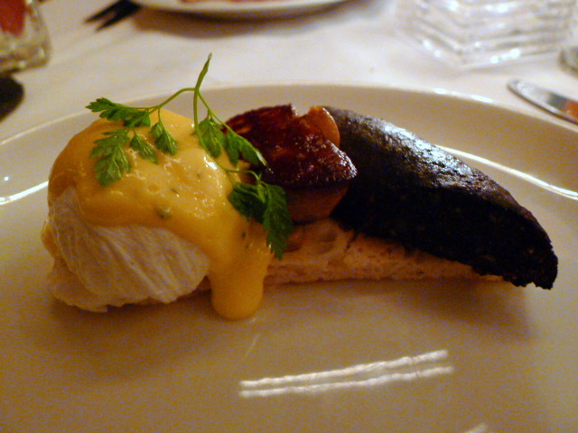 Foie gras with black pudding & poached egg