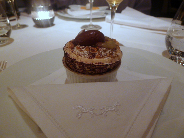 Pear William and walnut soufflé
