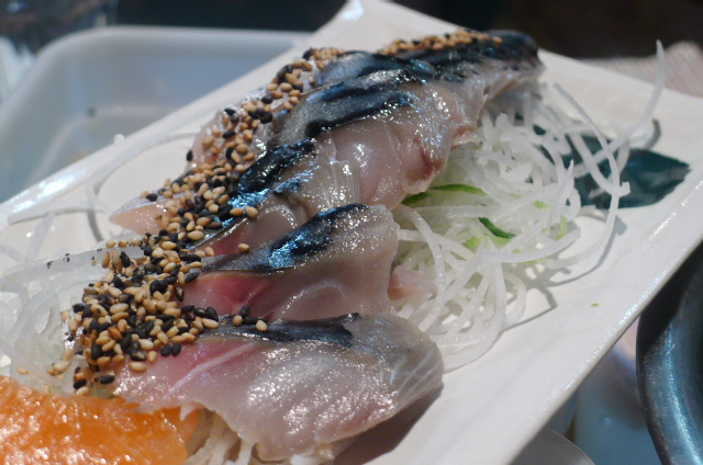 Marinated mackerel sashimi