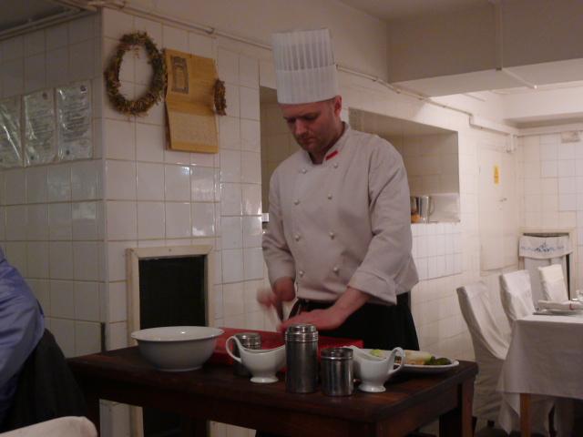 Chopping away at the steak tartare