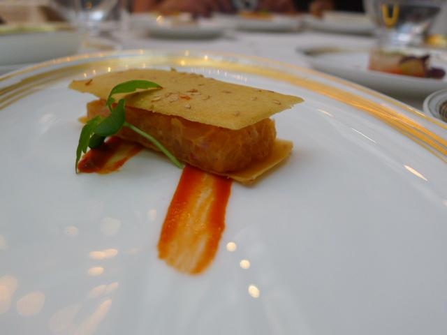 Sesame waffle with kingfish