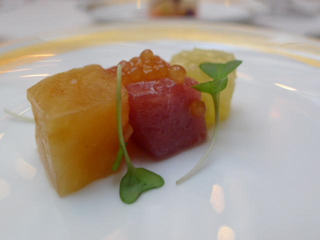 Aubergine, blue fin tuna, pomelo