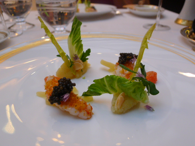 Langoustine, fennel and grapefruit with caviar