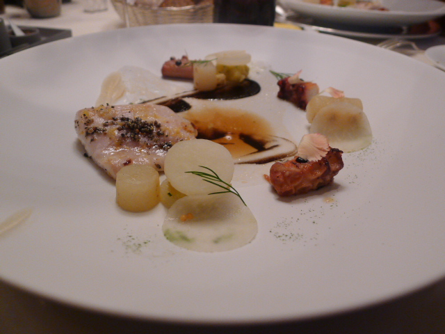 Sea bass wth octopus