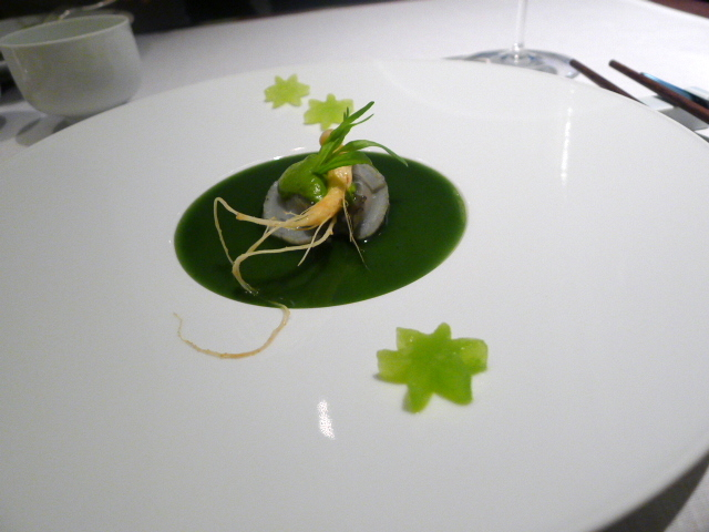 Abalone with ginseng and matcha