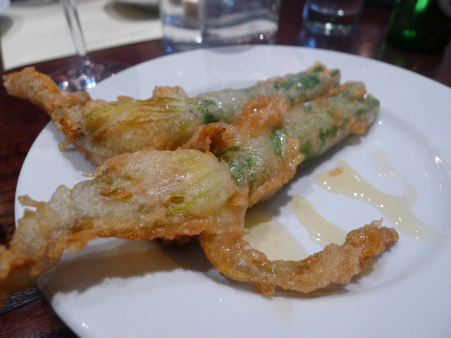 Courgette flowers stuffed with goats's cheese