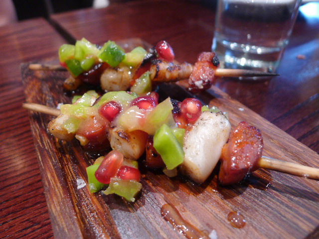 Octopus & chorizo skewers
