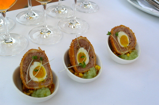 Confit duck and foie gras scotch egg