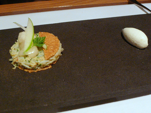 Dorset crab tart with Granny Smith
