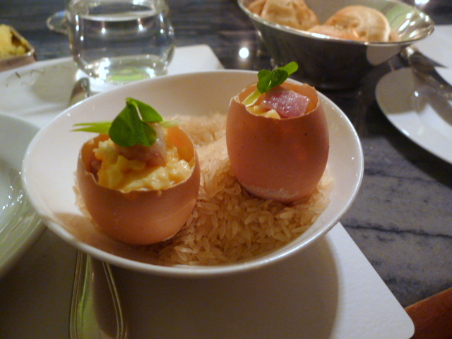 Coddled eggs with smoked eel