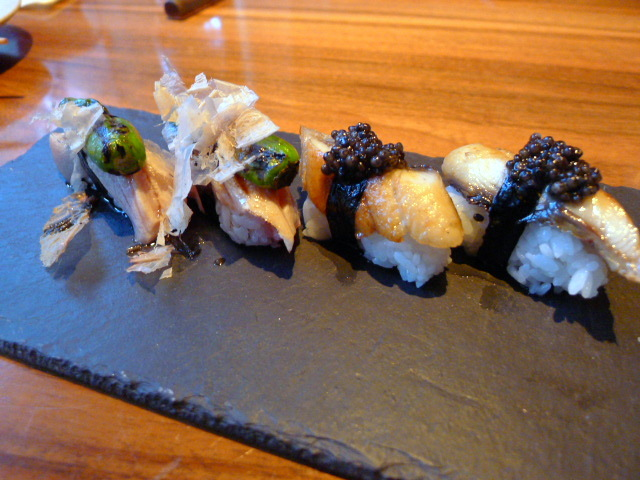Toro shishito and eel with Oscietra caviar