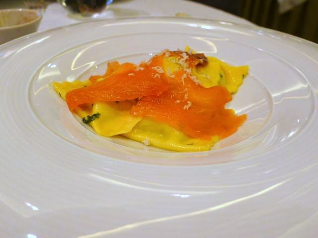 Tortelli with smoked salmon