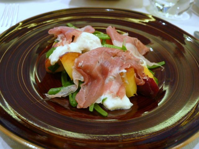 Salad of peaches, burrata & San Daniele ham