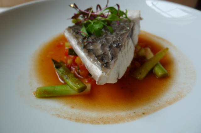 Poached stone bass
