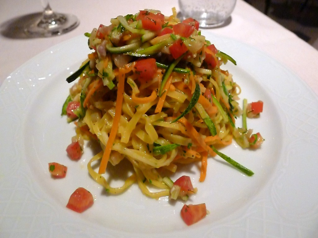 Raw sea bass tagliolini