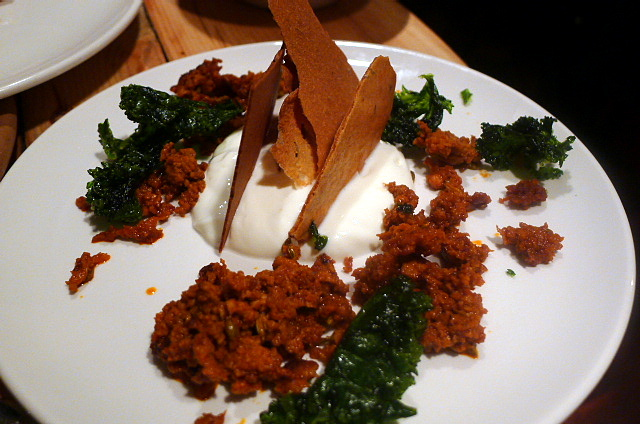 Chorizo with labneh cheese