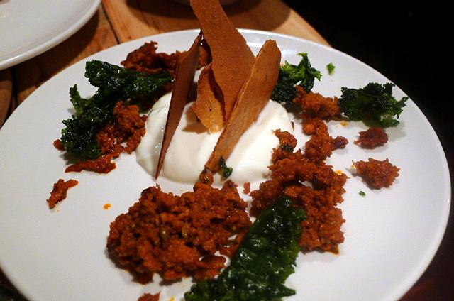 Chorizo with labneh cheese