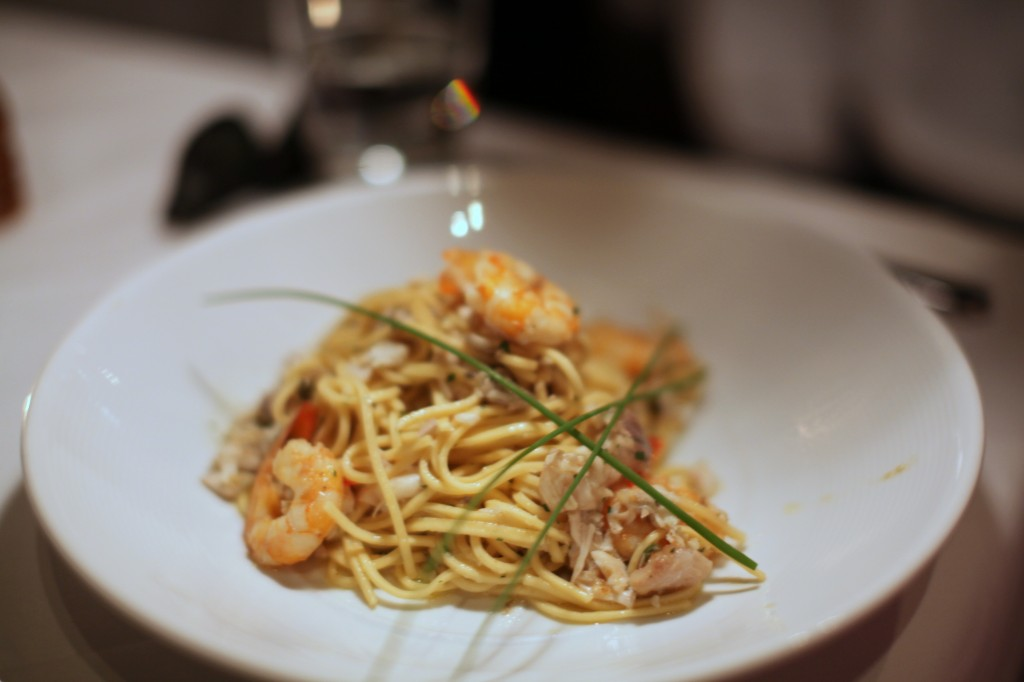 Spaghetti with barramundi & wild prawns