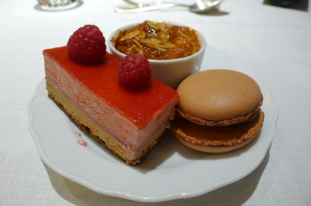 Raspberry & chocolate slice, chocolate macaroon & apple clafoutis