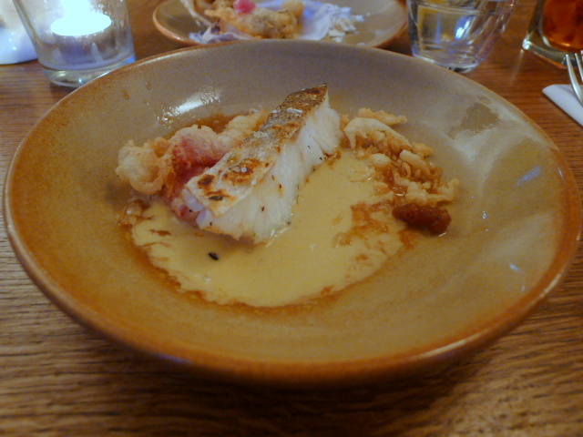 Cod, foie gras sauce, blood orange