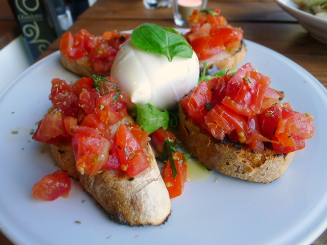 Buffalo mozzarella with bruschetta