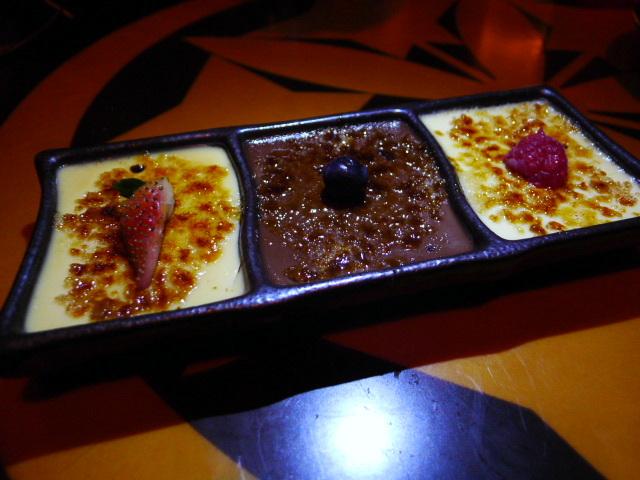 Trio of crème brulees