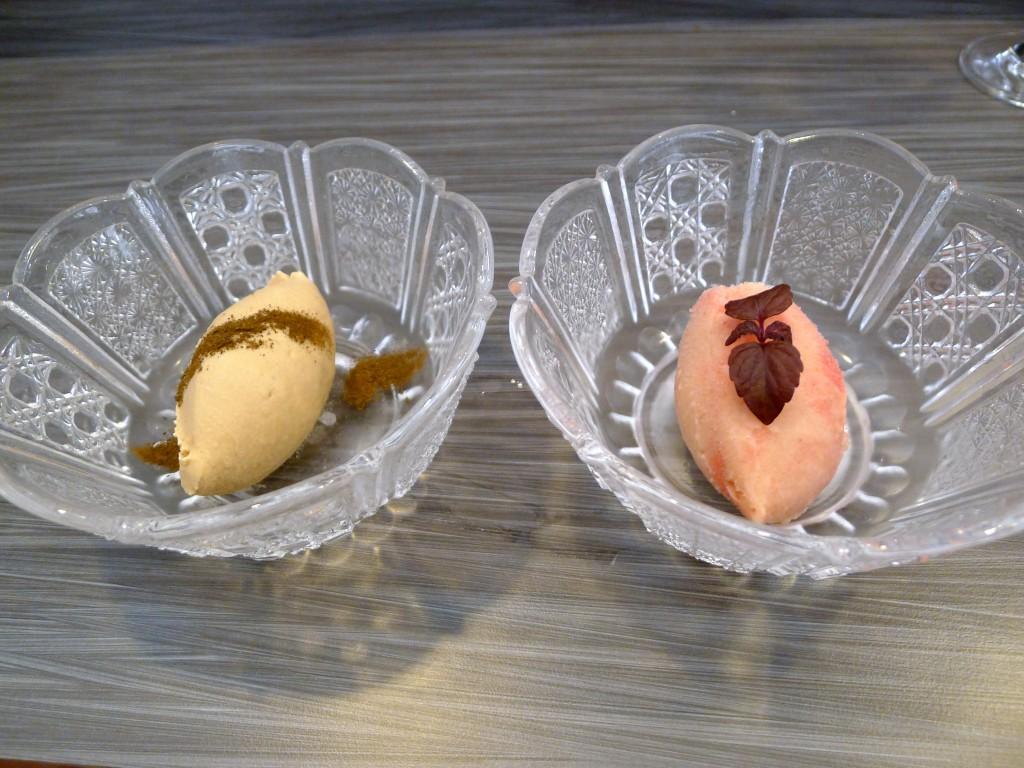 Umu hojicha ice cream & umeboshi sorbet