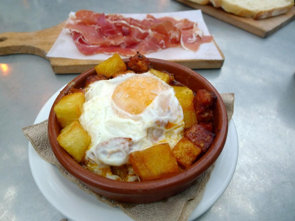 Baked chorizo & jamon serrano tapas