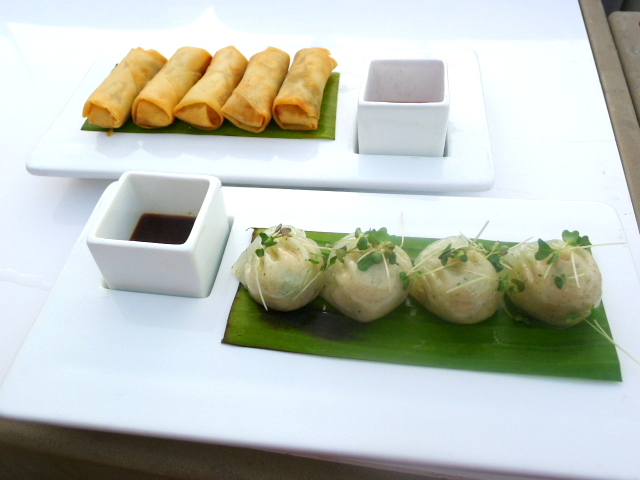 360 Bar & Lounge spring rolls & veggie dumplings
