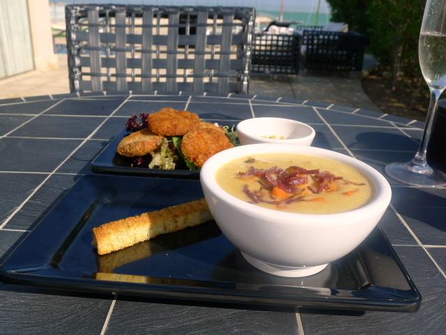 St Regis Cabana - Seafood chowder & crab fritters