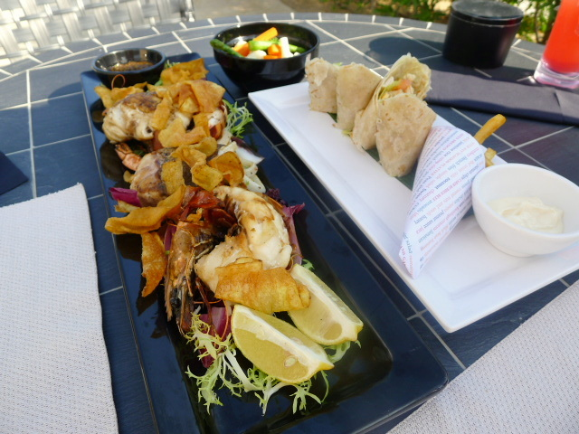 Oyster Bay & Bar seafood platter & Chicken club wrap