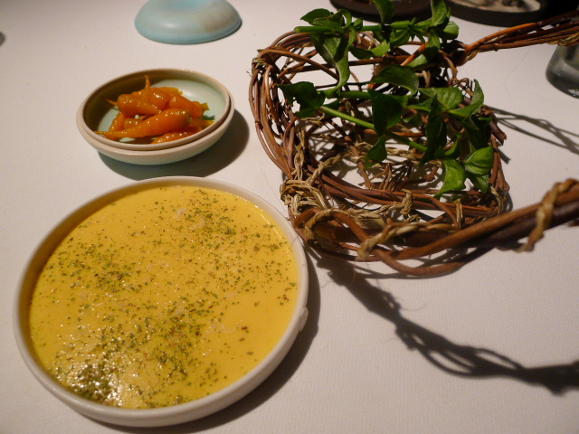 Attica Restaurant - Mushroom leaves, corn puree and carrots