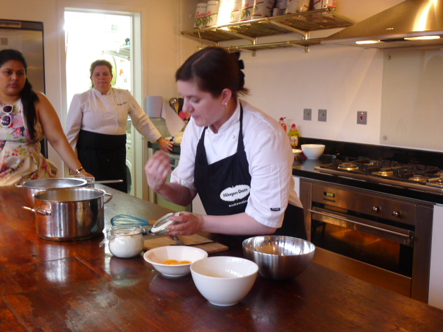 Natalie Coleman demonstrating ice cream making