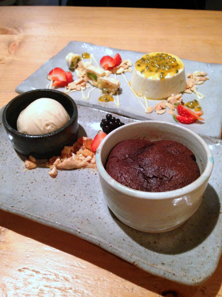Pachamama – Chocolate fondant & almond milk panna cotta