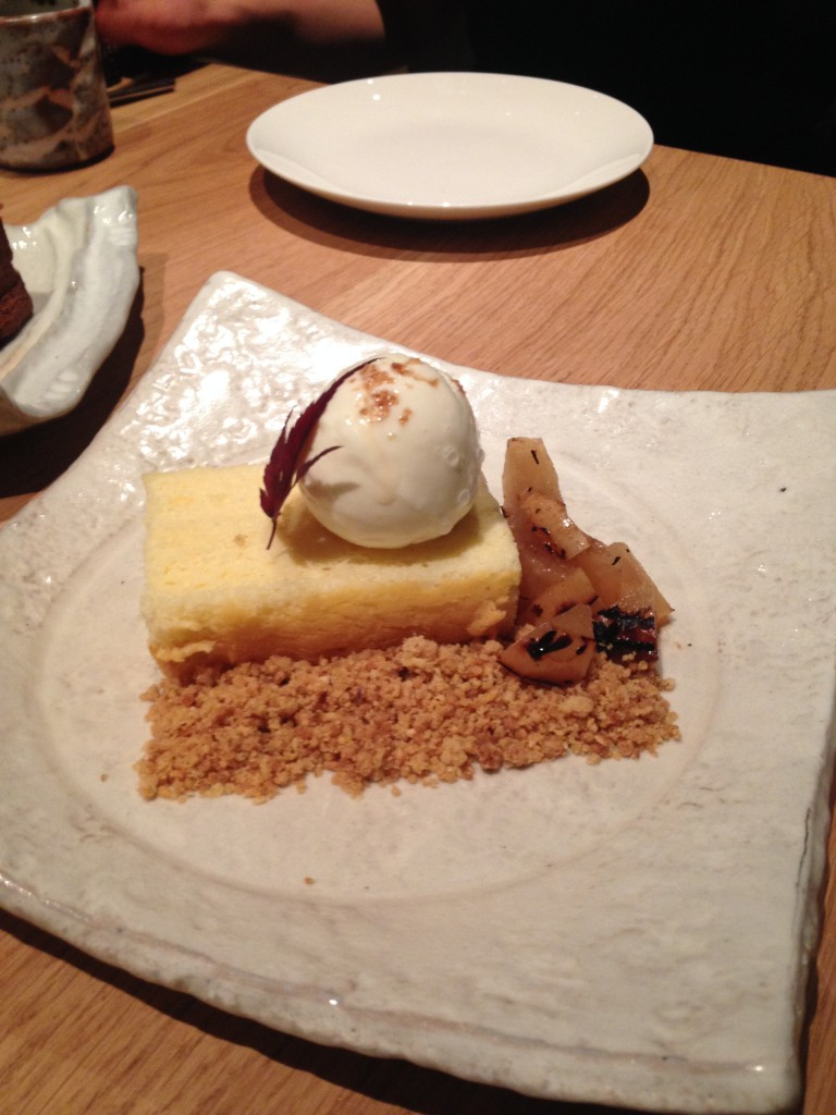 Roka - Japanese style 'cotton' soft cheesecake a with robata grilled pears and a ice cream cheese ice cream